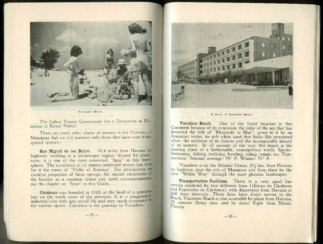Cuba Ideal Vacation Land Tourist Guide 1953-1954