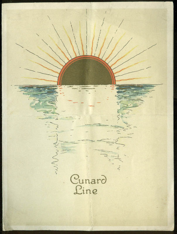 Cunard Line R M S Carmania Luncheon Menu 7/2 1927