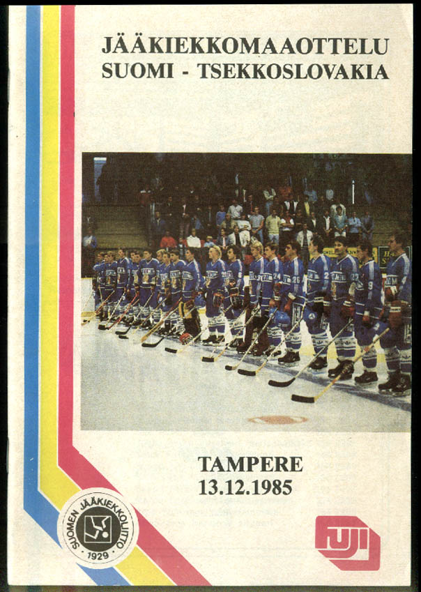 Finland-Czechoslovakia Hockey Program 12/13 1985