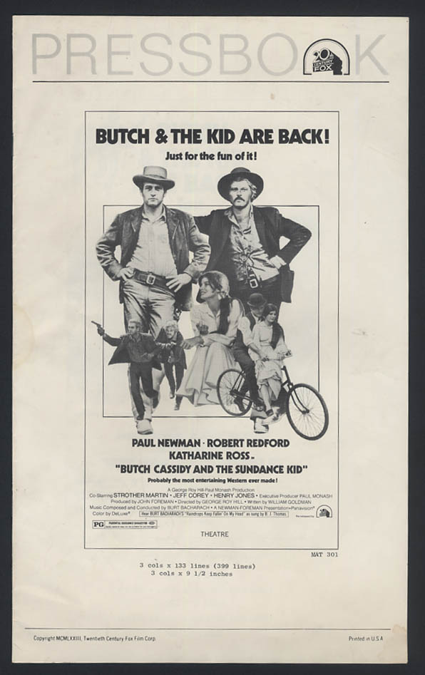 Butch Cassidy & The Sundance Kid are Back! pressbook re-release 1973