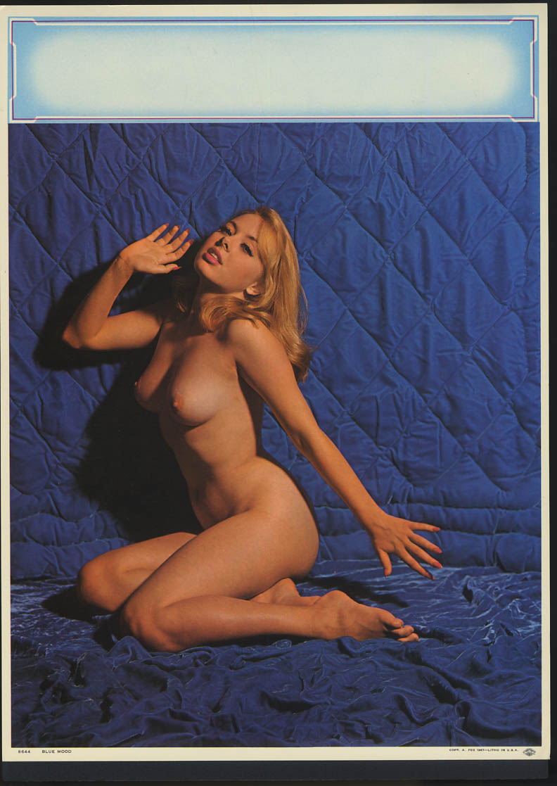 Blue Mood pin-up calendar print A Fox #8644 1967 blonde nude on purple quilt