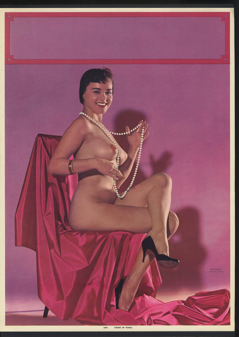 Image for String of Pearls pin-up calendar print A Scheer #5295 nude in chair pink satin