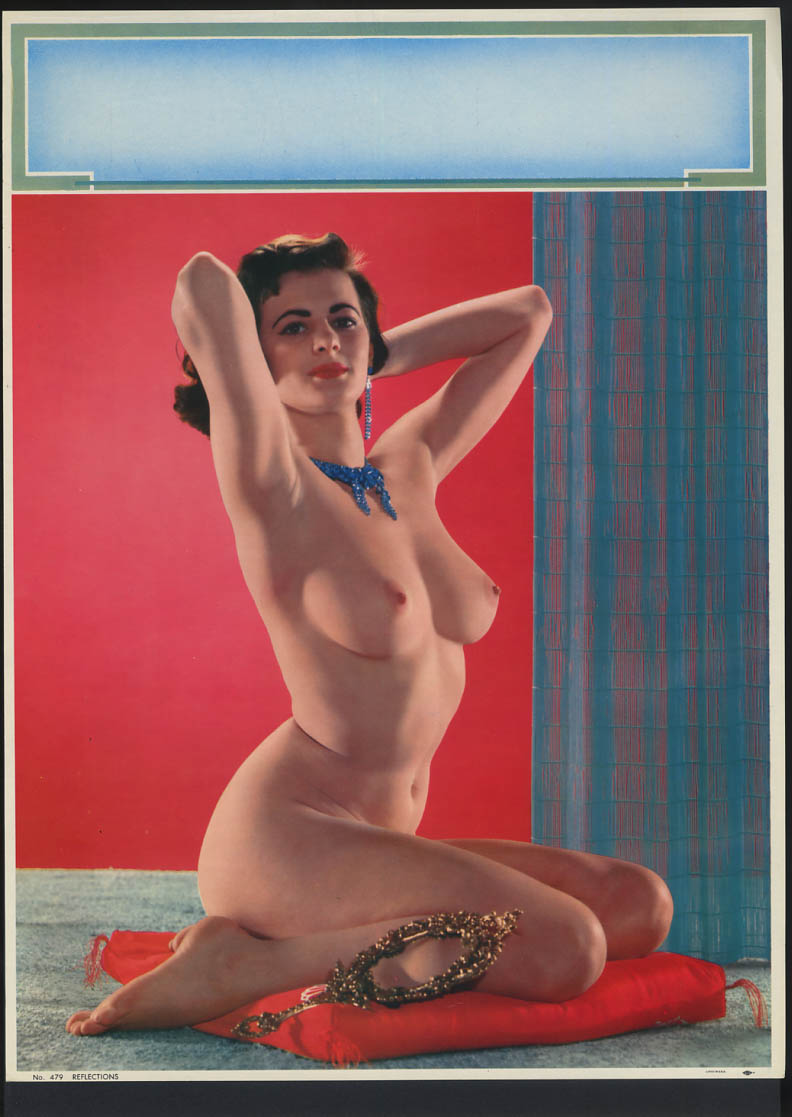 Image for Reflections pin-up calendar print #479 nude brunette on red pillow