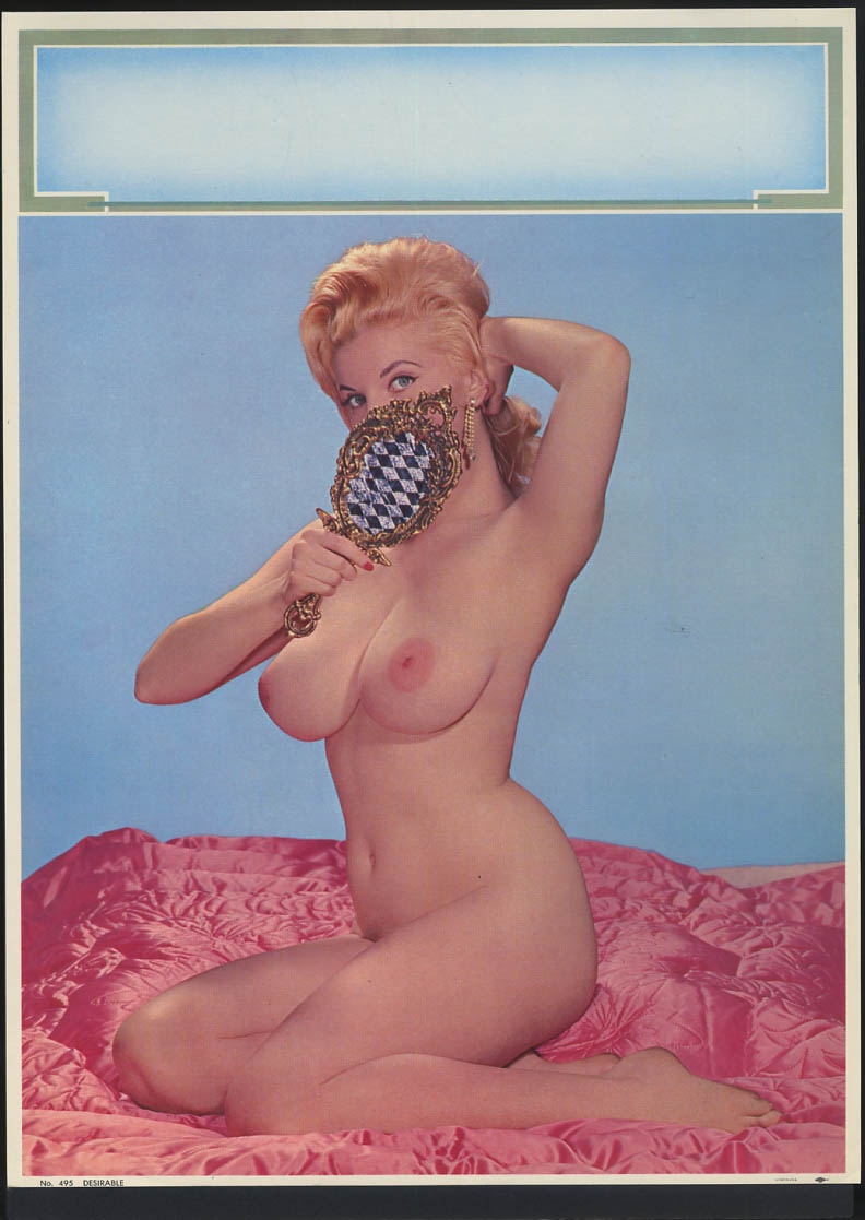 Desirable pin-up calendar print #495 nude blonde covers face with mirror