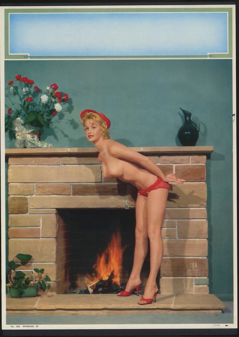 Image for Warming Up pin-up calendar print #486 topless blonde panties fireplace