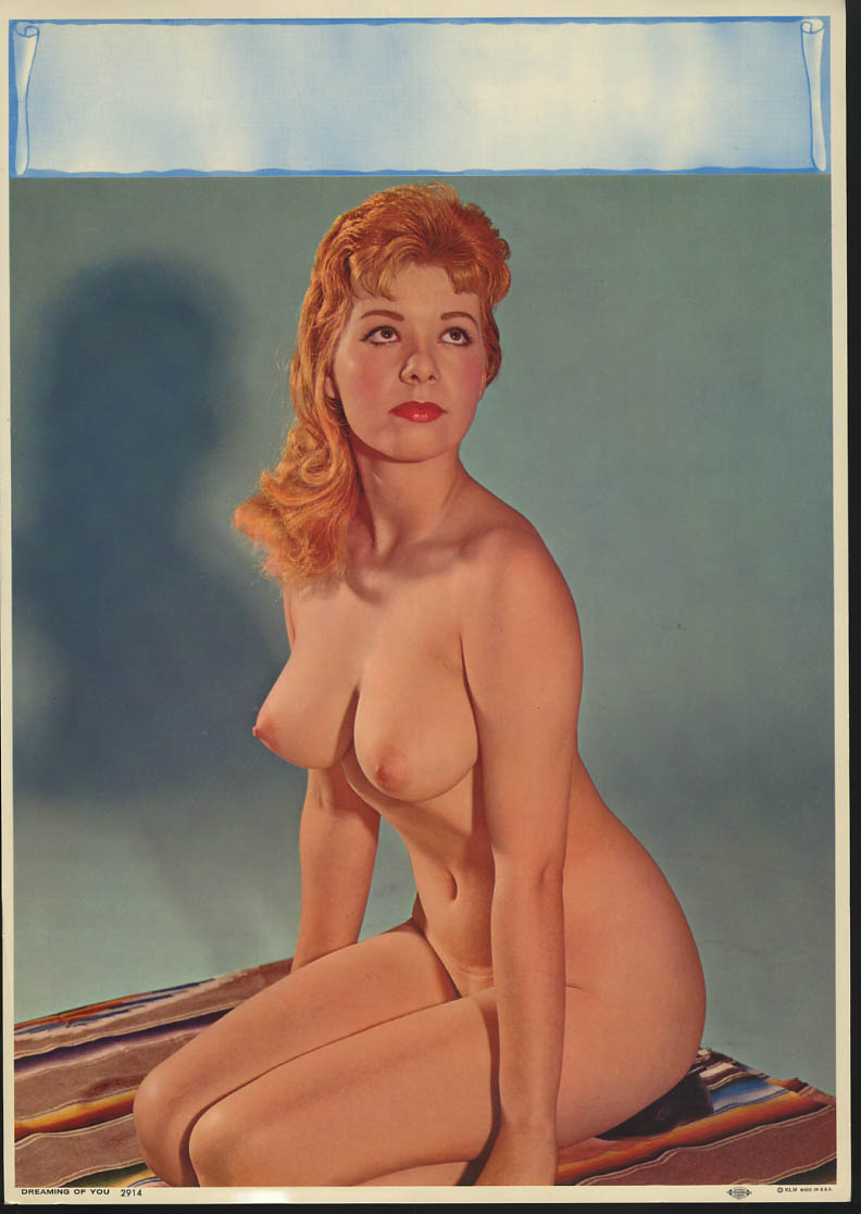 Dreaming of You pin-up calendar print KLM #2914 nude redhead kneeling