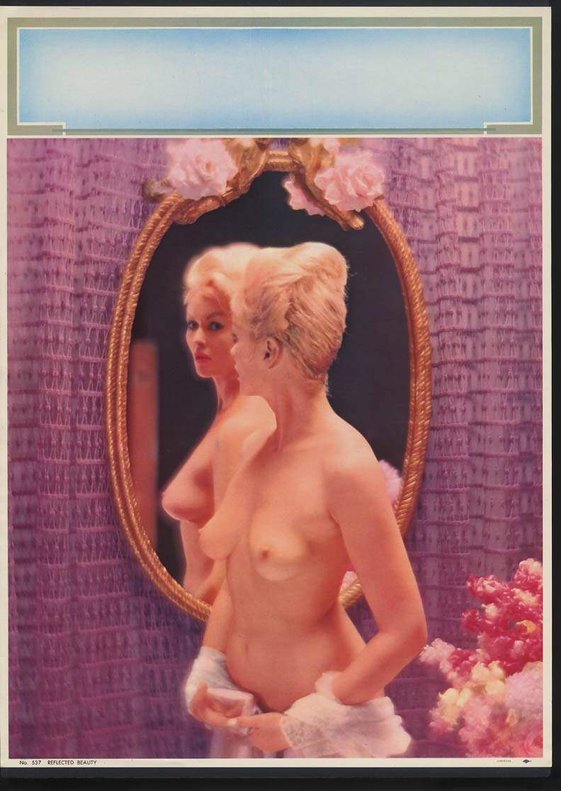 Image for Reflected Beauty pin-up calendar print #537 topless blonde in mirror