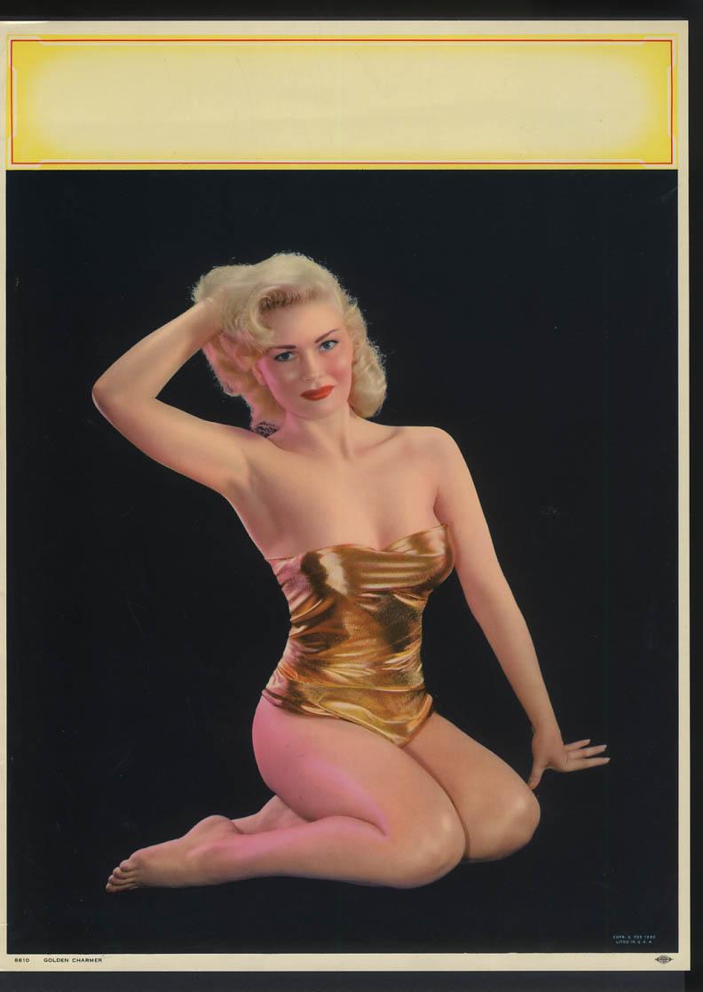 Golden Charmer pin-up calendar print A Fox #8810 1960 gold lame 1-piece suit