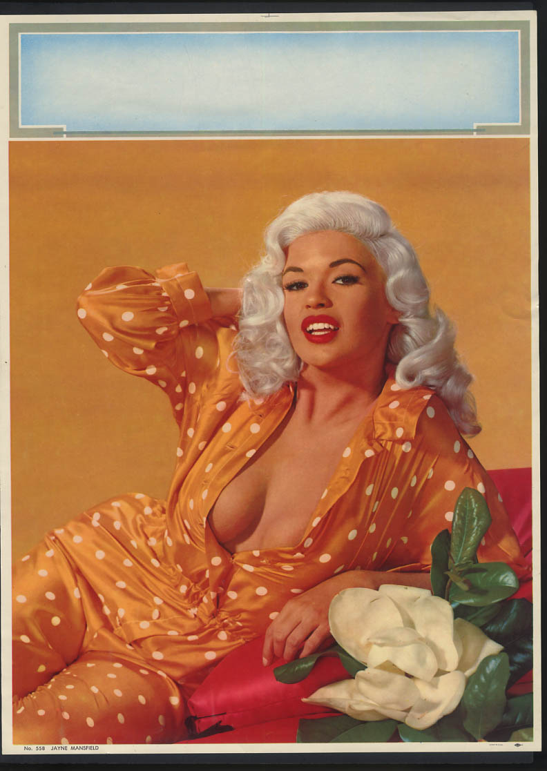Image for Jayne Mansfield pin-up calendar print #558 orange polkadot pajamas