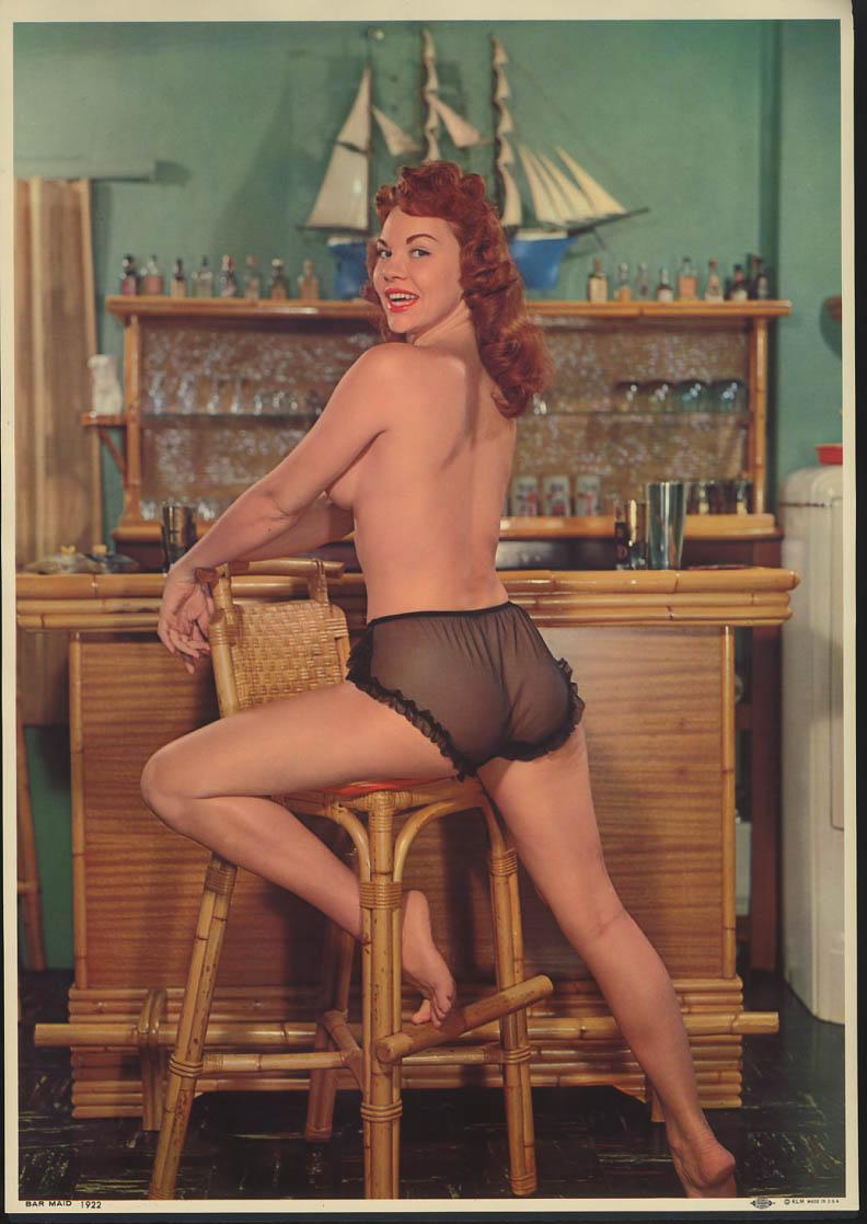 Bar Maid pin-up calendar print KLM #1922 topless redhead black panties