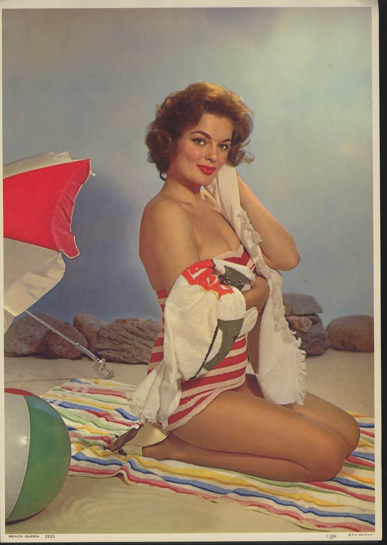 Beach Queen pin-up calendar print KLM #2925 redhead striped swimsuit cleavage
