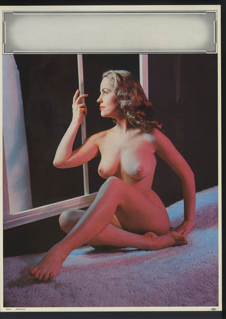 Image for Moonglo pin-up calendar print A Fox #8946 1960 nude brunette seated by window