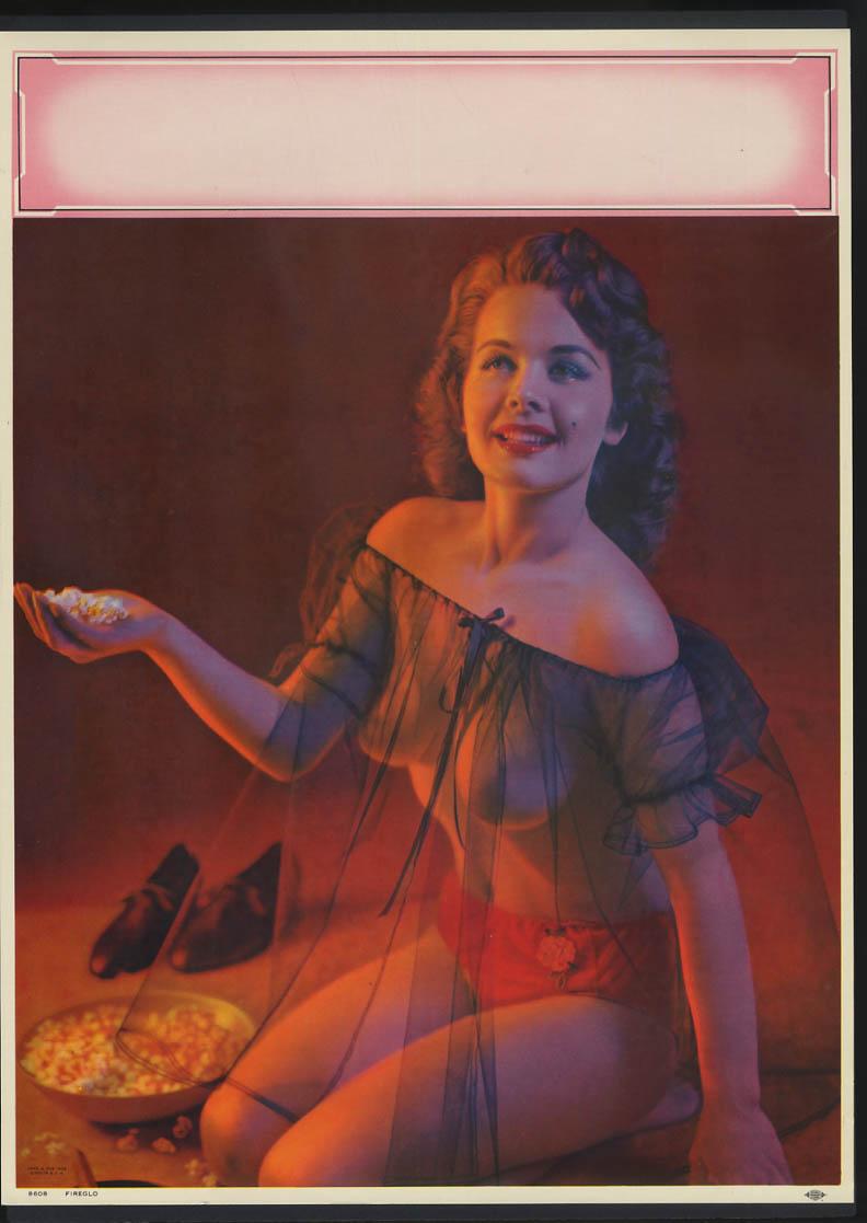 Image for Fireglo pin-up calendar print A Fox #8608 1958 redhead see-thru black nightie