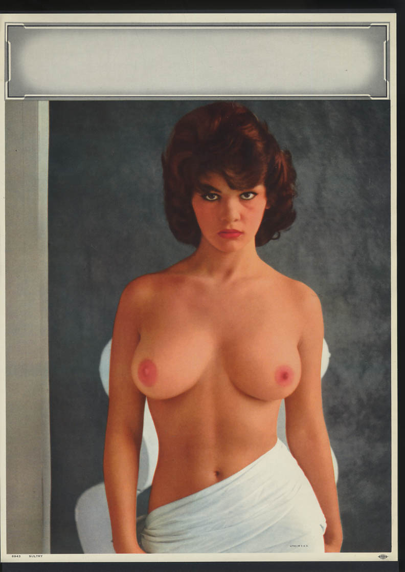 Image for Sultry pin-up calendar print #8943 topless brunette white wrap