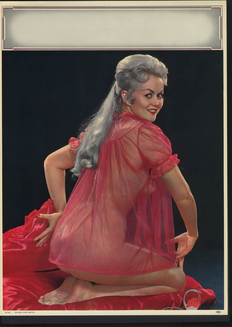 Image for Silver & Satin pin-up calendar print A Fox #8136 1962 red see-thru nightie