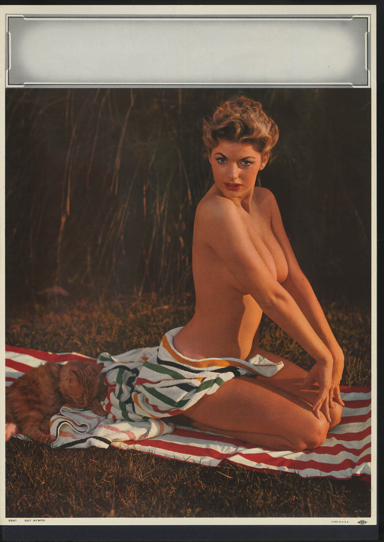 Gay Nymph pin-up calendar print #8941 nude brunette kneels on towel with cat