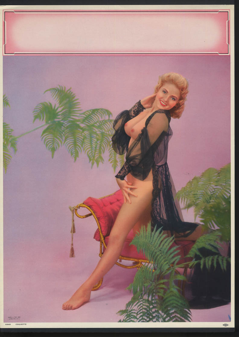 Image for Coquette pin-up calendar print A Fox #8940 1961 nude blonde black nightie