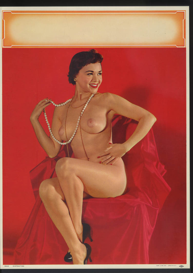 Image for Distracting pin-up calendar print A Fox #8944 1961 seated nude twirls pearls