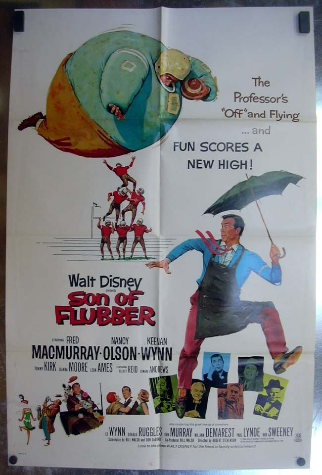 Walt Disney presents Son of Flubber 1970 one-sheet movie poster Fred MacMurray
