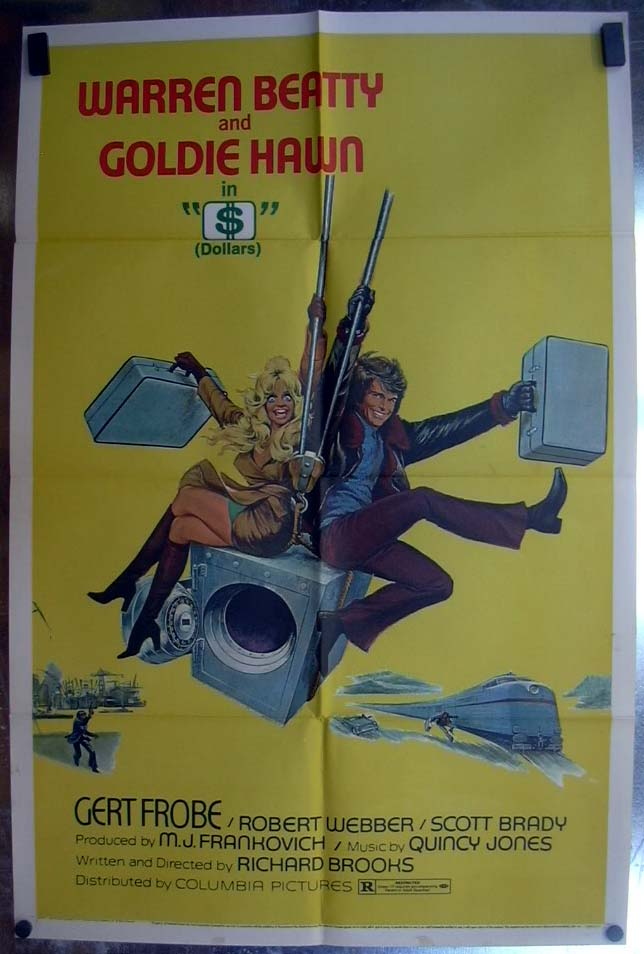 $ (Dollars) 1971 one-sheet movie poster Warren Beatty Goldie Hawn