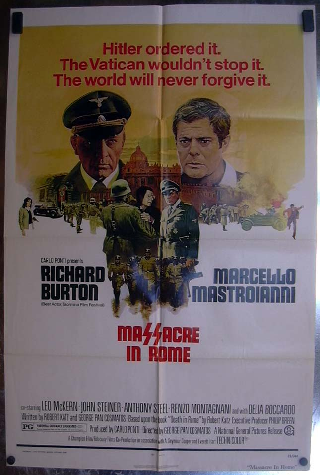 Image for Massacre in Rome 1973 one-sheet movie poster Richard Burton Marcello Mastroianni