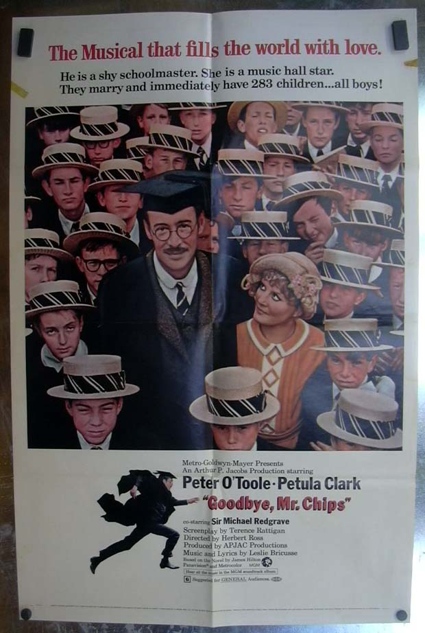 Goodbye Mr Chips 1970 one-sheet movie poster Peter O'Toole Petula Clark