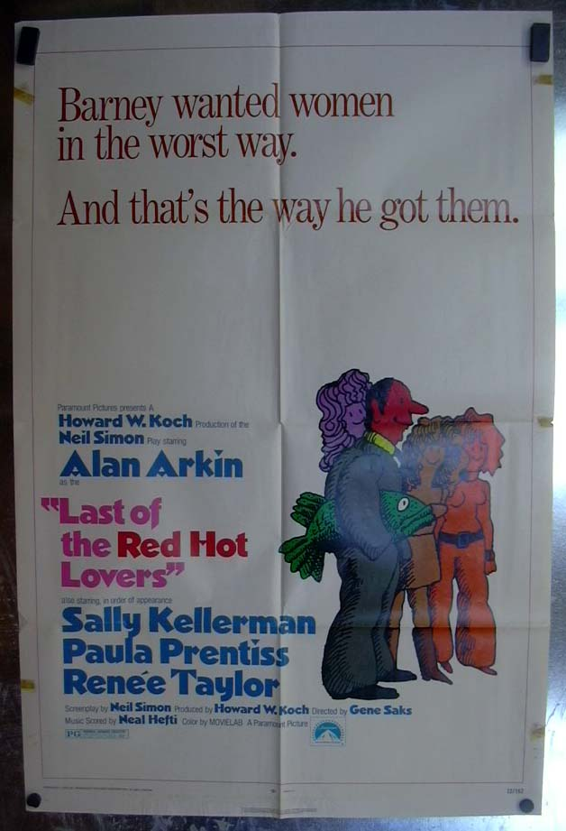 Last of the Red Hot Lovers 1972 one-sheet movie poster Alan Arkin