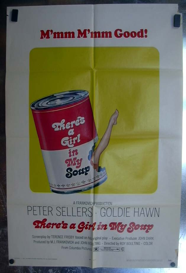 There's A Girl in My Soup 1971 one-sheet movie poster Peter Sellers Goldie Hawn
