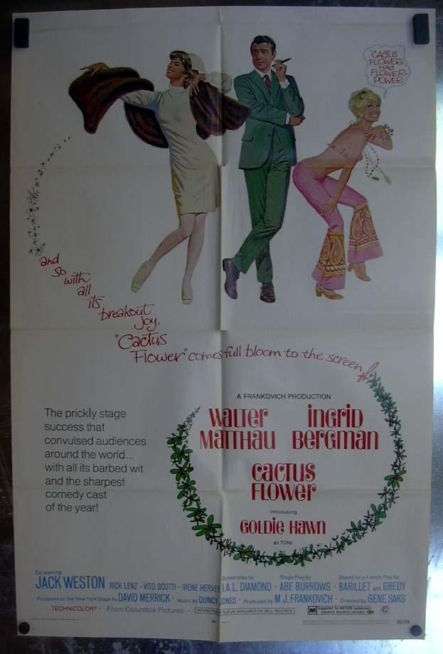 Image for Cactus Flower 1969 one-sheet movie poster Walter Matthau Goldie Hawn