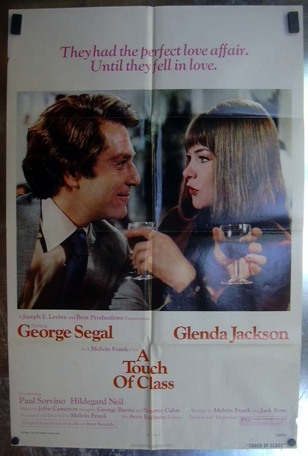 A Touch of Class 1973 one-sheet movie poster George Segal Glenda Jackson
