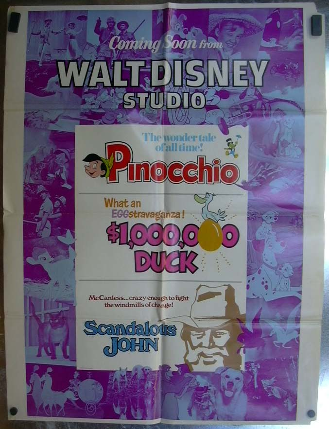 Pinocchio $1,000,000 Duck Scandalous John 1971 one-sheet movie poster