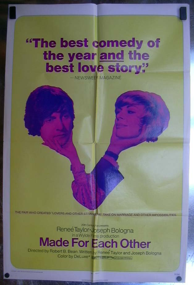 Image for Made For Each Other 1971 one-sheet movie poster Renee Taylor Joseph Bologna