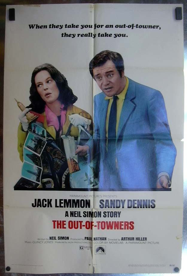 Image for The Out-Of-Towners 1970 one-sheet movie poster Jack Lemmon Sandy Dennis