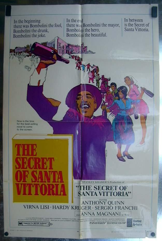 The Secret of Santa Vittoria 1969 one-sheet movie poster Anthony Quinn
