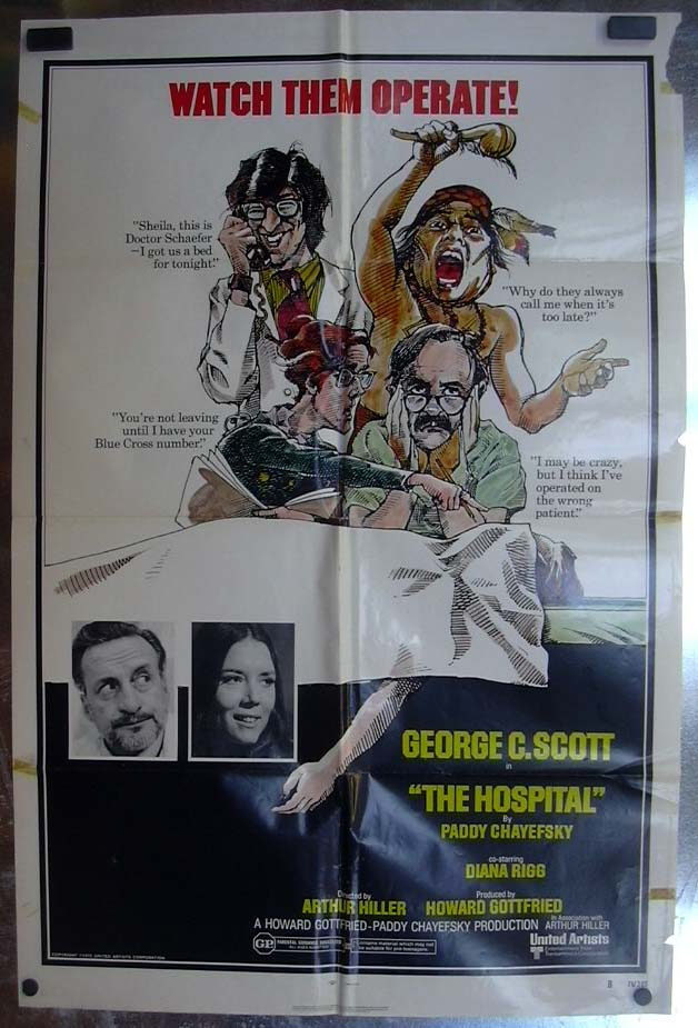 Image for The Hospital 1971 one-sheet movie poster George C Scott Diana Rigg