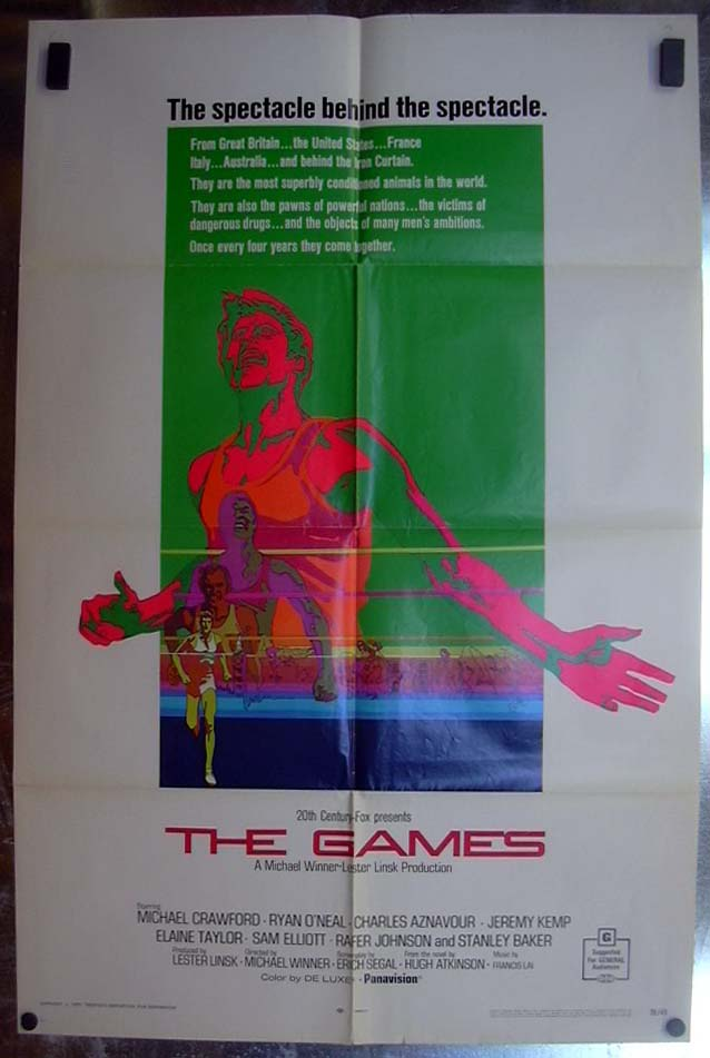 Image for The Games 1970 one-sheet movie poster Michael Crawford Ryan O'Neal