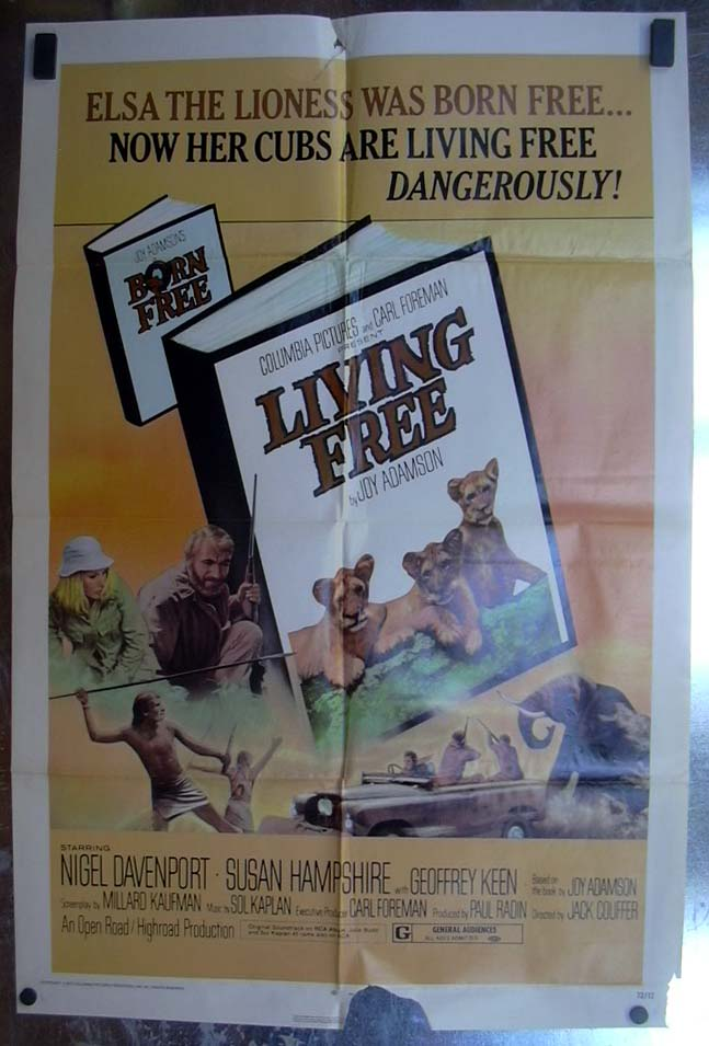 Image for Living Free 1972 one-sheet movie poster Nigel Davenport Susan Hampshire
