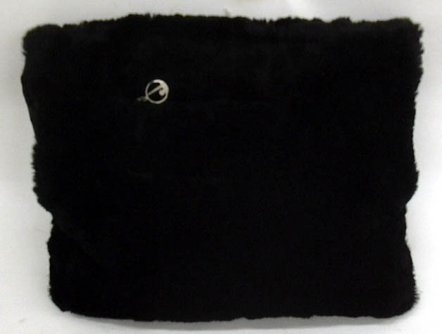 Image for New York World's Fair fur hand muff with zippered pocket & metal logo 1939