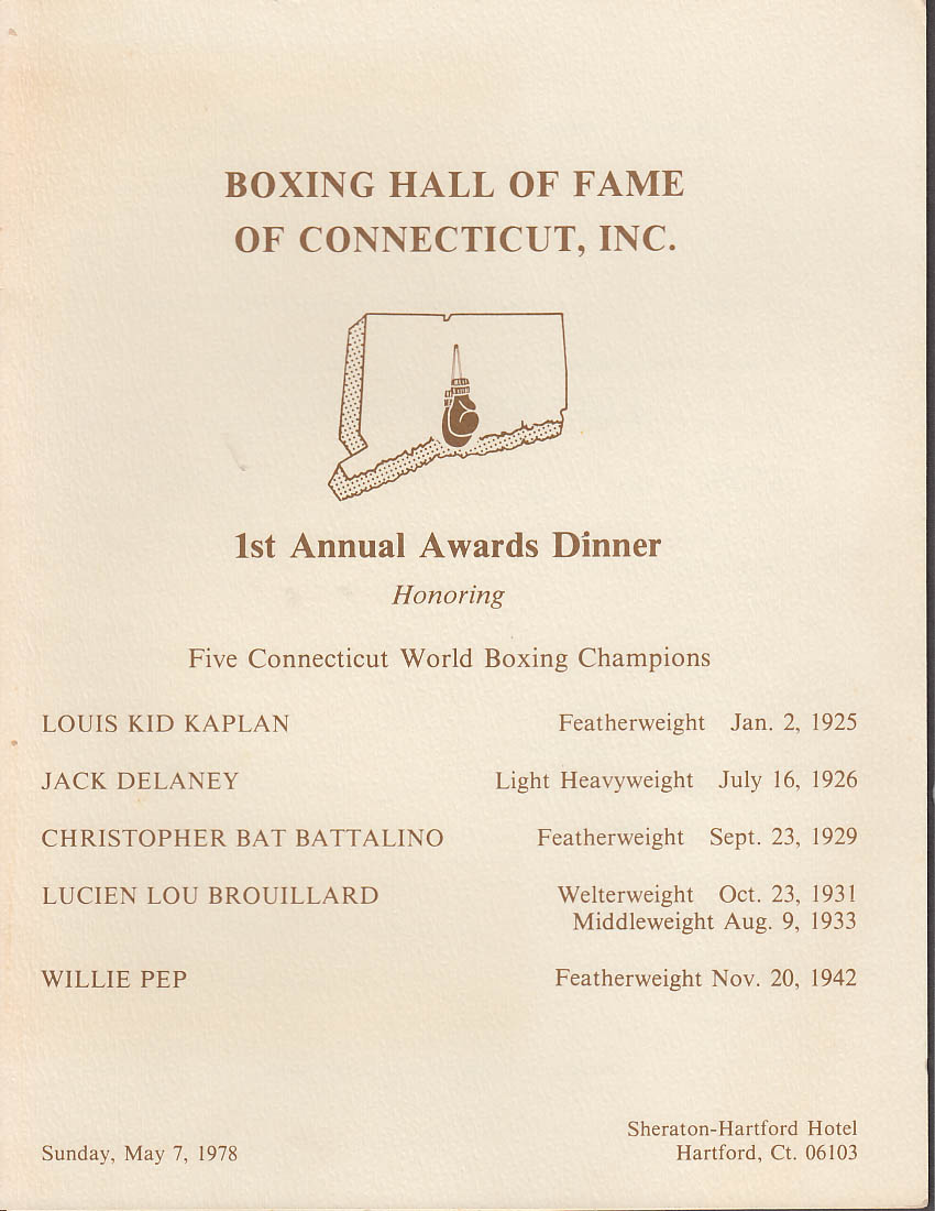 Boxing Hall of Fame Connecticut Awards Dinner Program 1978 Pep Battalino Kaplan