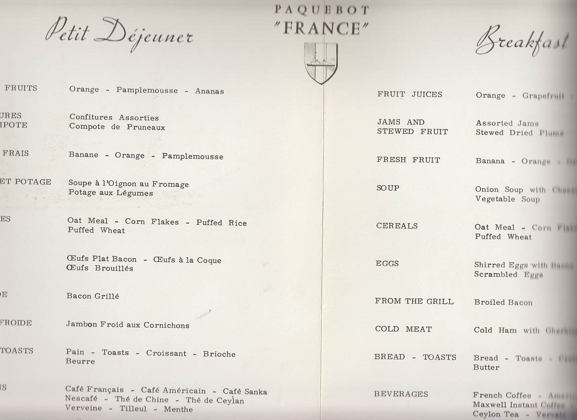 Favori French Line S S France Petit Dejeuner Breakfast Menu 1972 RL96