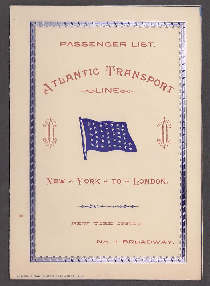 Atlantic Transport Line S S Mohawk NY-London Passenger List 8/1 1896 Capt Gates
