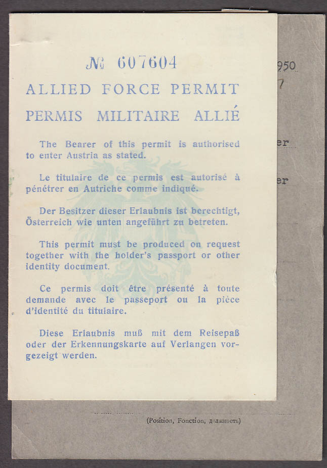 Allied Occupation Forces Permit High Commission Office 1950 Vienna US UK Fr zone
