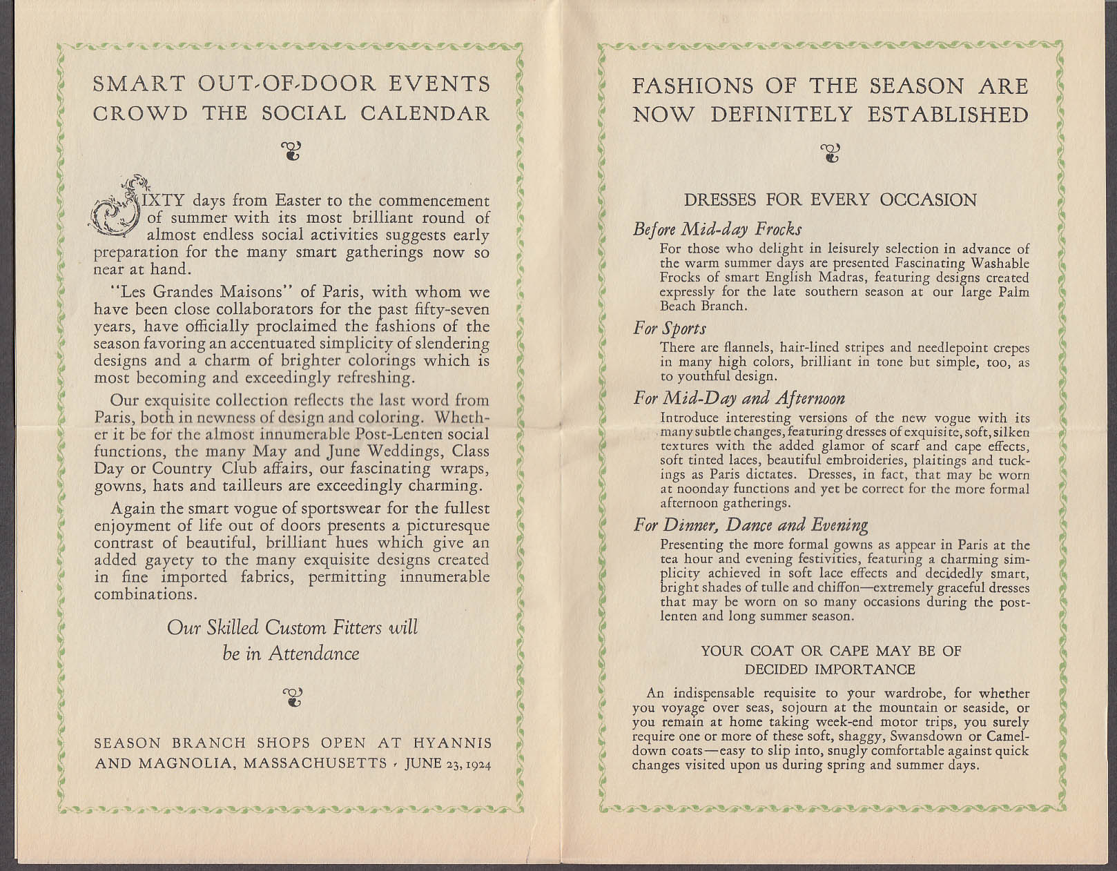 House of Manahan Summer Fashion Show Invitation Wheaton Inn Norton MA 1924