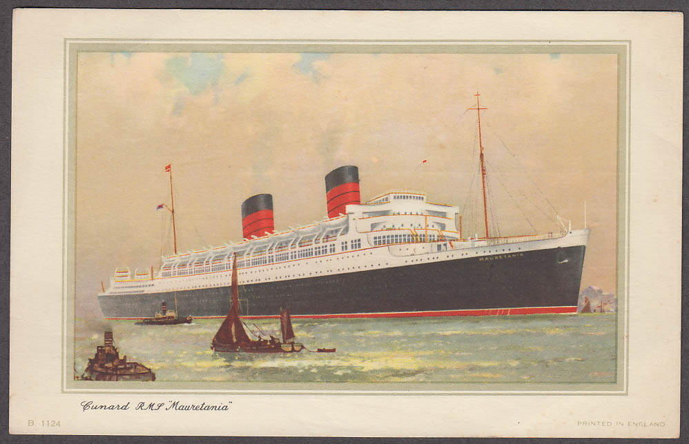 Cunard Line R M S Mauretania Abstract of Log Card NY-Southampton 9/4-10 1958