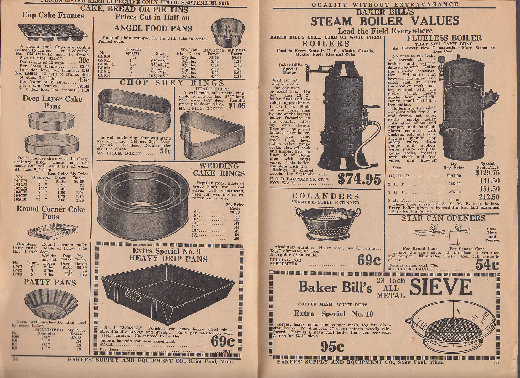 Bakers Supply Equipment Catalog 1928 racks pans uniforms tins displays +