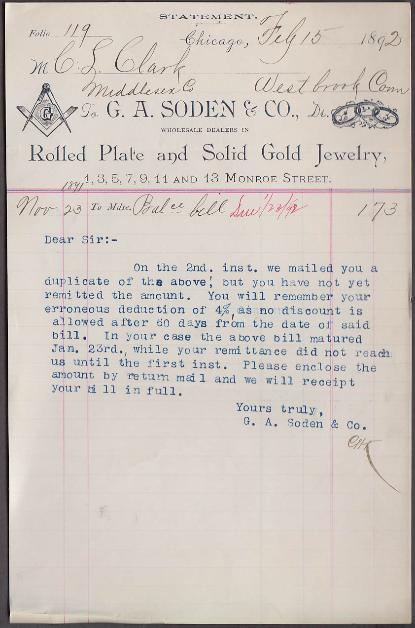 G A Soden Rolled Plate & Solid Gold Jewelry dunning invoice 1892 Chicago