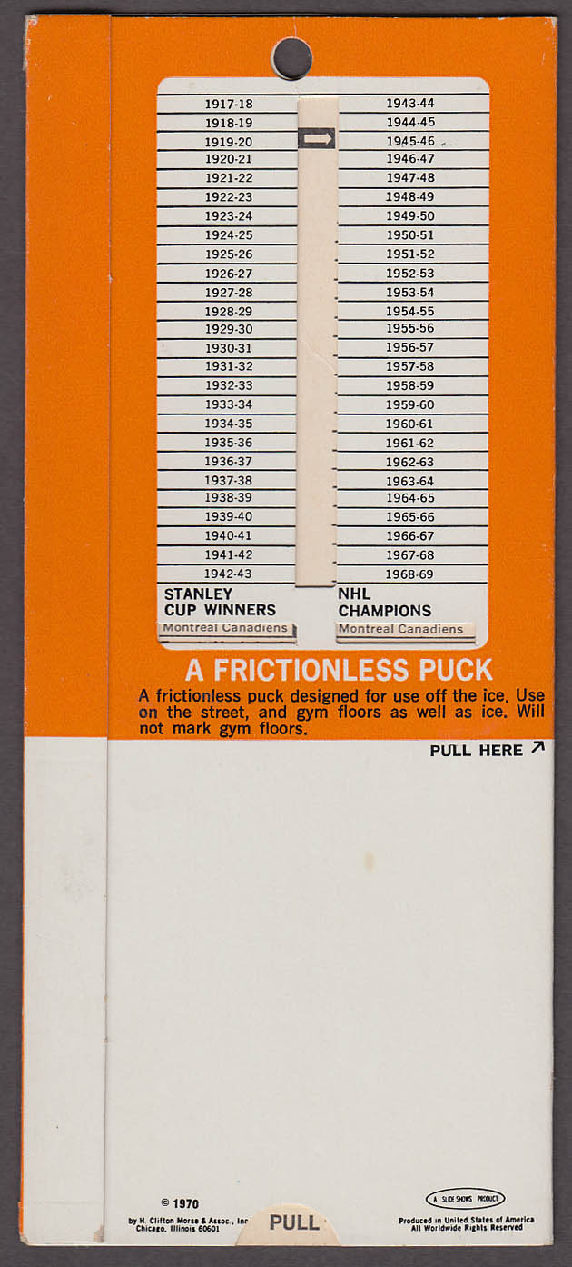 NHL National Hockey League Record Computer 1970 Rawlings