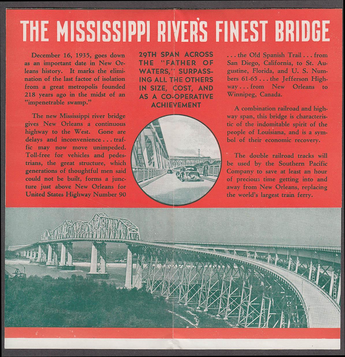 13 Million Dollar Bridge New Orleans folder 1935 later named Huey P Long Bridge