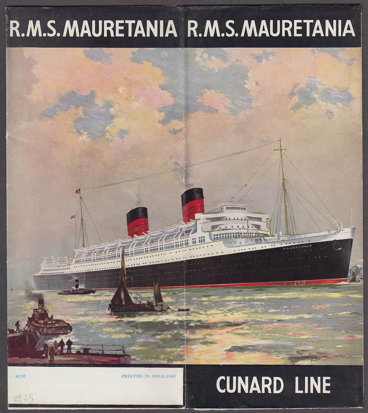 Cunard Line R M S Mauretania ocean liner folder 1930s