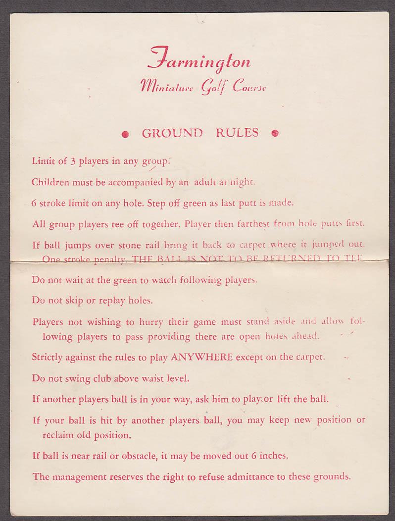 Farmington Miniature Golf Course scorecard Farmington CT 1960s
